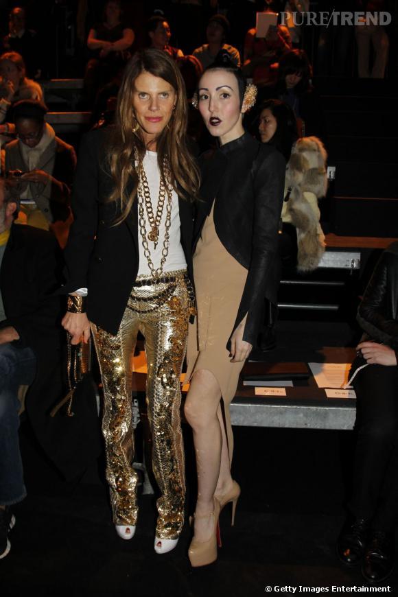 Anna Dello Russo et Michelle Harper chez Mugler à Paris.