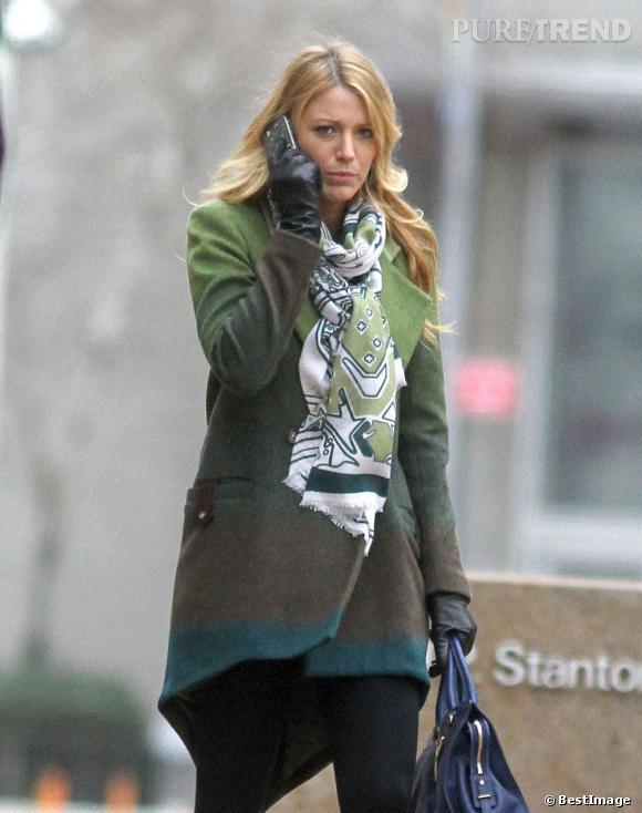 """Blake Lively sur le tournage de """"Gossip Girl"""" à New York."""