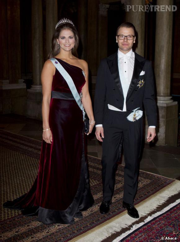 La Princesse Madeleine de Suède en compagnie de son beau-frère le Prince Daniel lors d'un gala officiel à Stockholm.