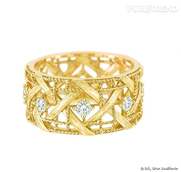 style distinctif haut de gamme véritable correspondant en couleur Bague My Dior Bague en or jaune et semi-pavé diamants ...