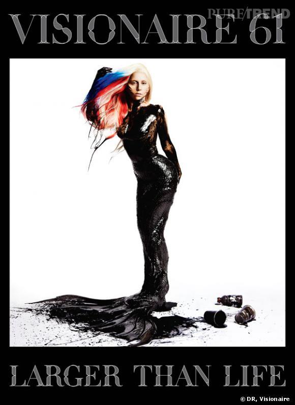 Lady Gaga métamorphosée en créature chimérique en couverture de Visionaire.