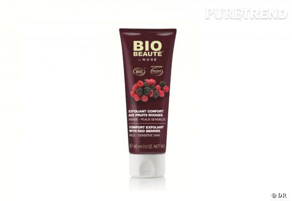 Exfoliant confort visage aux fruits rouges, Bio Beauté by Nuxe, 12,90 euros Enrichi en huiles de mûre, d'abricot et de prune bio, il élimine les impuretés et cellules mortes et réveille le teint.