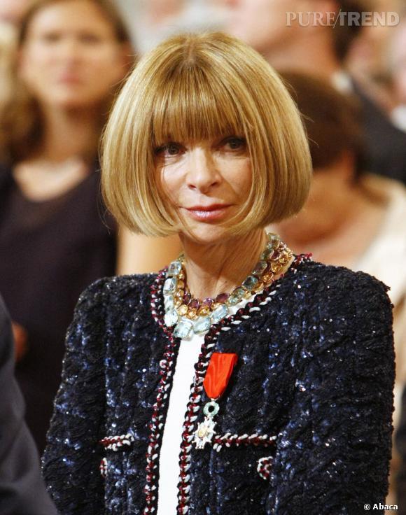 Anna Wintour n'a pas changé de coiffure depuis plus de vingt ans : un carré impeccable et une frange XL.
