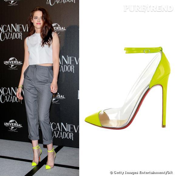 Les nouvelles it-shoes fluo de Kristin Stewart sont signées Christian Louboutin. Une véritable paire de princesse moderne.