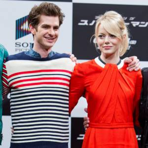 Andrew Garfield et Emma Stone lors d'une conférence presse à Tokyo le 13 juin.