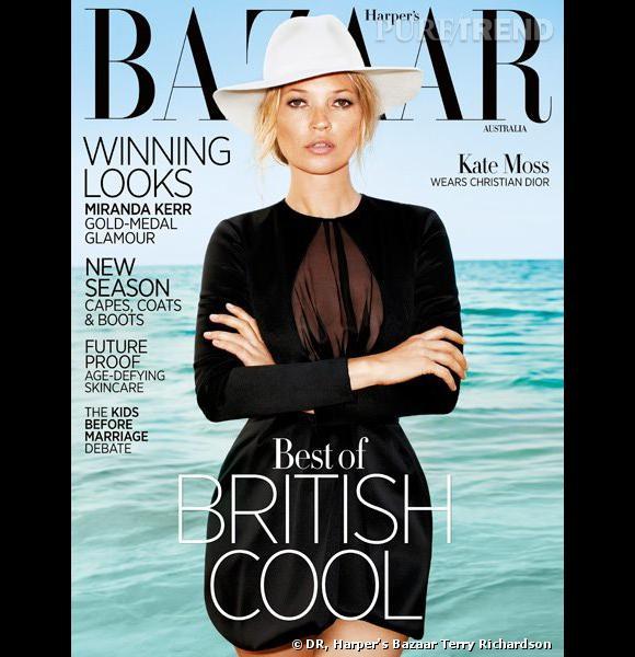 Kate Moss prend la pose dans une robe Christian Dior pour le numéro d'août du Harper's Bazaar australien.