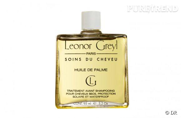 Ce soin s'applique sur les longueurs et les pointes avant le shampooing et nourrit en profondeur les cheveux. Il peut aussi s'utiliser en masque si votre crinière est abîmée.    Huile de Palme, Leonor Greyl, 28  €