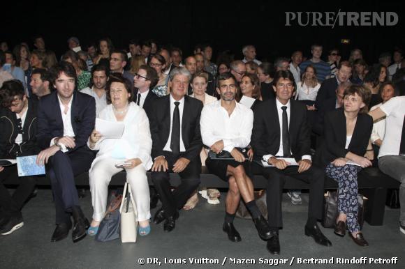 Front row du défilé Louis Vuitton Homme Printemps-Eté 2013 : Antoine Arnault, Suzy Menkes, Yves Carcelle, Marc Jacobs, Jordi Constans, Cathy Horyn