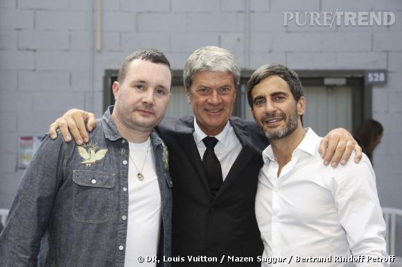 Kim Jones, Yves Carcelle et Marc Jacobs au défilé Louis Vuitton Homme