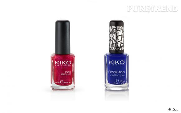 Nail Lacquer et Rock-top Nail Lacquer de KIKO, 2,50 € chacun