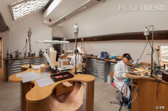 L'atelier, situé sous les toits de l'hôtel particulier de la Place Vendôme.