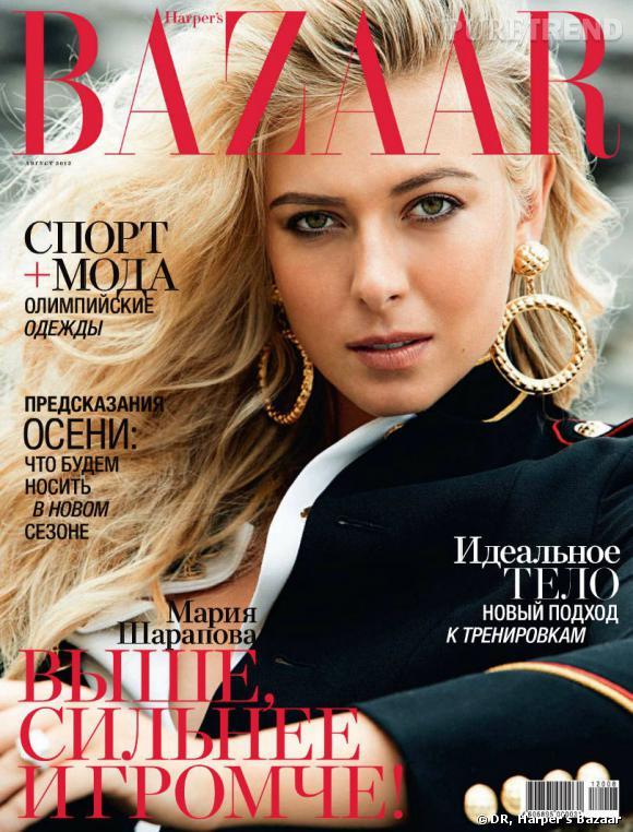 Quand l'athlète Maria Sharapova pose pour la version russe du Harper's Bazaar, ça donne un mélange entre retro et tendance marine