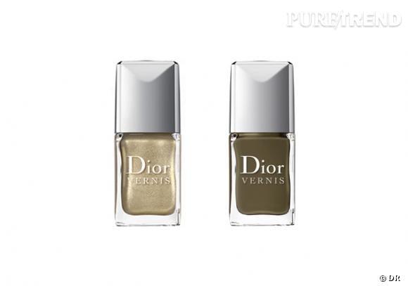 Le Top Coat fini croco de Dior :  Après le top coat effet craquelé, Dior se met à la tendance croco avec un vernis effet reptile. La méthode : après avoir déposé son vernis (ici à gauche, le Dior Vernis Or), on applique le top coat pour un ongle paré d'écailles.   Duo Dior Vernis Or et Top Coat fini croco, Dior, 36,60 €