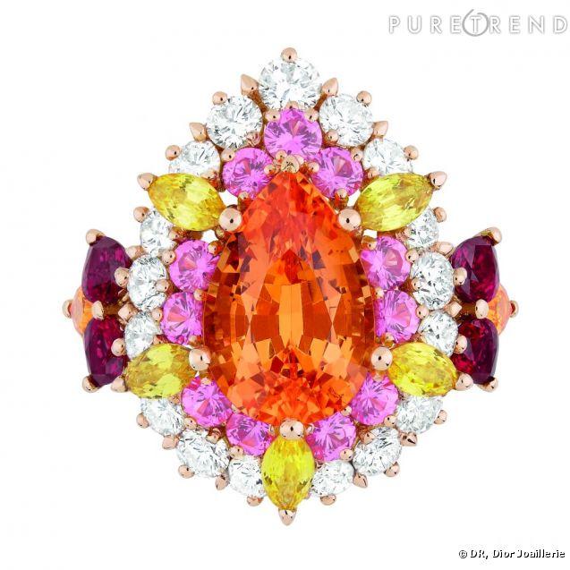 dior joaillerie bague dear dior en or rose diamants grenats spessartite rubis saphirs. Black Bedroom Furniture Sets. Home Design Ideas