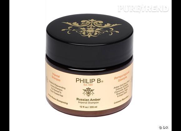 Le shampooing Russian Amber Imperial Shampoo de Philip B. est disponible au prix de 143 €.