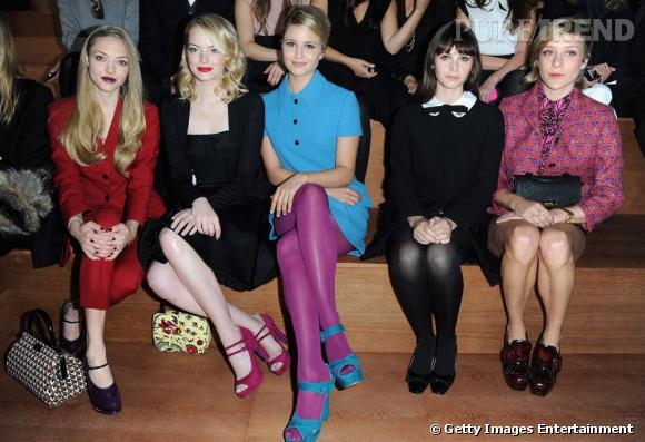 Amanda Seyfried, Emma Stone, Dianna Agron, Felicity Jones et Chloë Sevigny au défilé Miu Miu Printemps-Eté 2013.