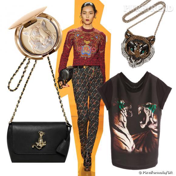 Fashion Obsession : le tigre ! Silhouette défilé Kenzo Automne-Hiver 2012/2013 entourée de Chantecaille, Mulberry, Shourouk et Maje.