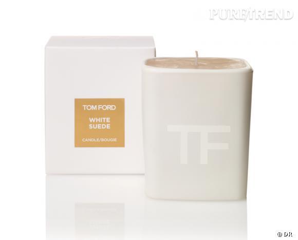 Une bougie parfumée pour Noël !       Bougie White Suede, Tom Ford, 67 €