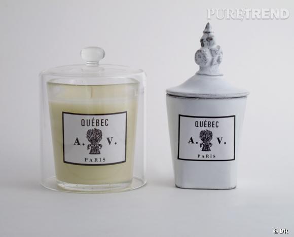 Une bougie parfumée pour Noël !       Bougie Québec, Astier de Villatte, 55 €