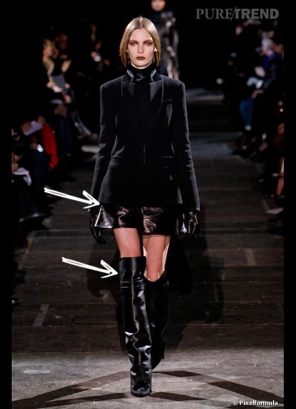 Comment porter le short cet hiver ?      Comme chez Givenchy on ose le short en cuir avec bottes en cuir et veste en velours cintrée style cavalière.      Défilé Automne-Hiver 2012/2013