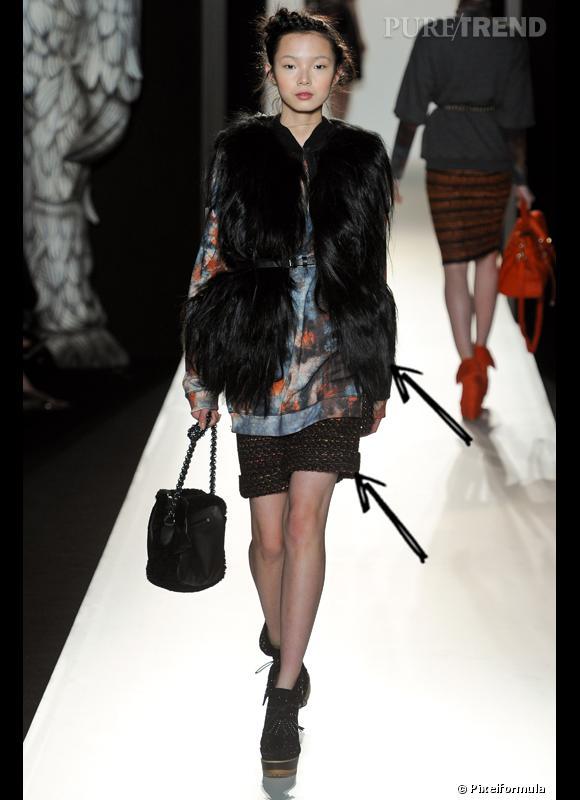 Comment porter le short cet hiver ?      Comme chez Mulberry, le short, hiver oblige, se décline en laine avec un gilet en fourrure.      Défilé Automne-Hiver 2012/2013