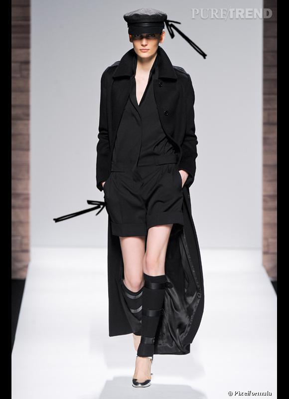 Comment porter le short cet hiver ?      Comme chez Max Mara, on ose le combishort version militaire avec un long manteau et une casquette.      Défilé Automne-Hiver 2012/2013