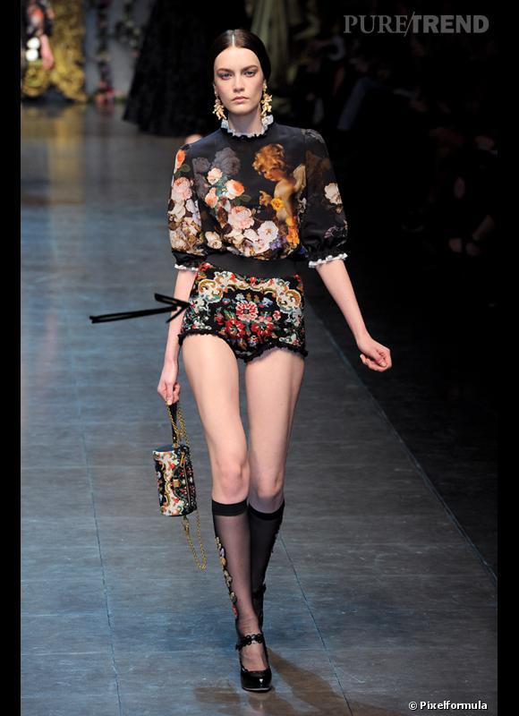 Comment porter le short cet hiver ?      Comme chez Dolce & Gabbana, on ose le short tendance tapisserie.      Défilé Automne-Hiver 2012/2013