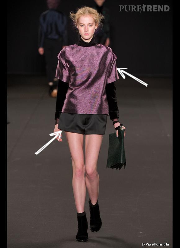 Comment porter le short cet hiver ?      Comme chez Vanessa Bruno, on adopte le short avec une touche satinée et de glitter.      Défilé Automne-Hiver 2012/2013