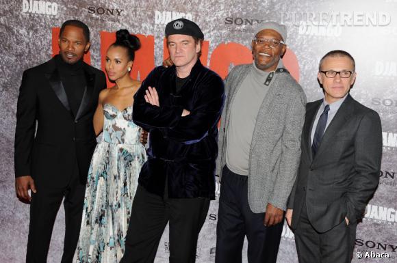 """Jamie Foxx, Kerry Washington, Quentin Tarantino, Samuel L. Jackson et Christoph Waltz à l'avant-première de """"Django Unchained"""" à Paris."""