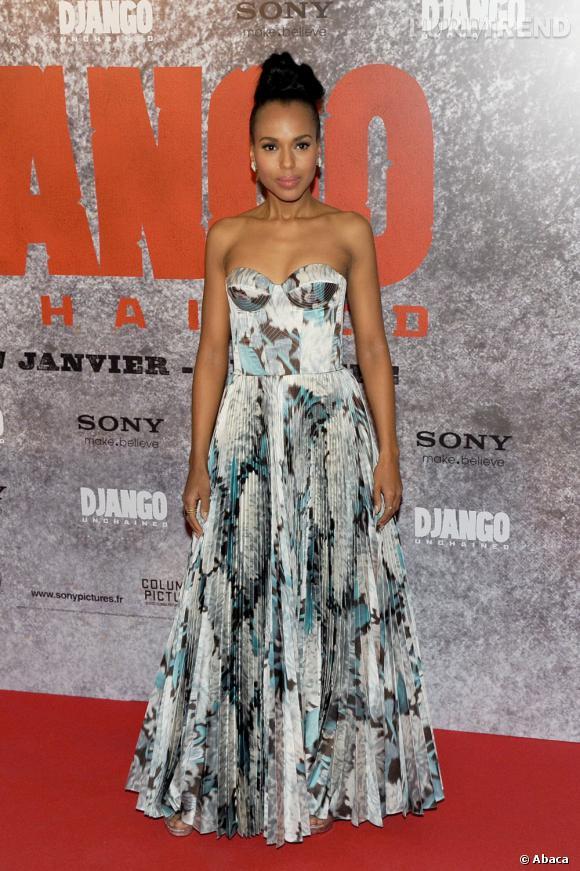 """Kerry Washington en Rochas à l'avant-première de """"Django Unchained"""" à Paris."""
