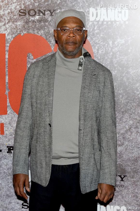 """Samuel L. Jackson à l'avant-première de """"Django Unchained"""" à Paris."""