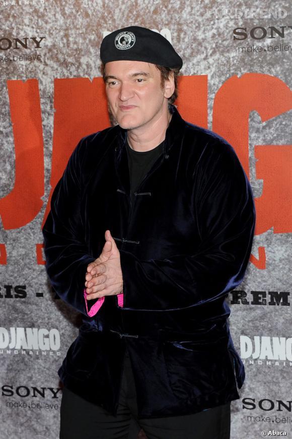 """Quentin Tarantino à l'avant-première de """"Django Unchained"""" à Paris."""