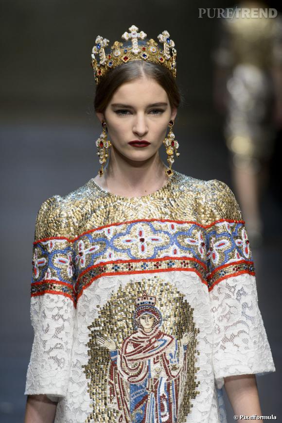 Le look royal    Défilé Dolce & Gabbana Automne-Hiver 2013/2014.