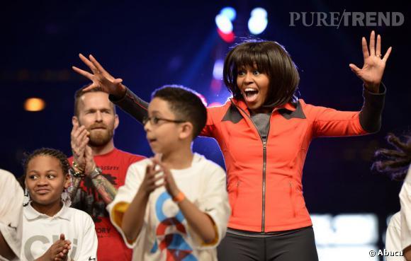 """Michelle Obama lors du lancement du programme """"Let's move active schools"""" à Chicago."""
