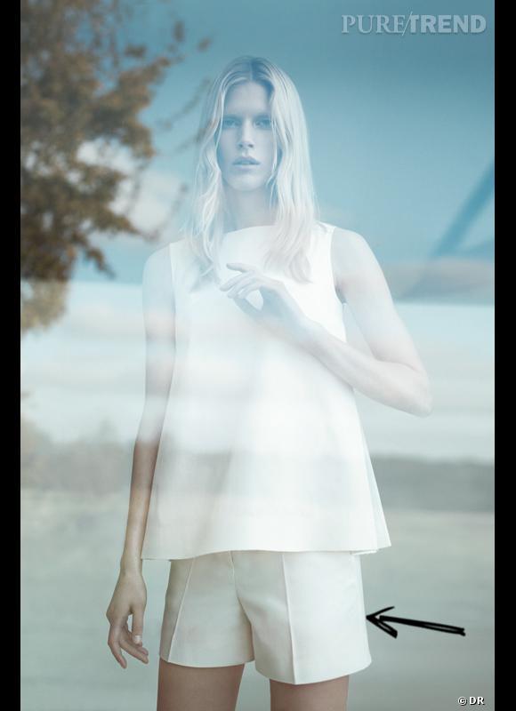 Comment porter le total look blanc ce Printemps-Eté 2013 ?  Comme chez Cos dans un ensemble chic top à basque + short.  Lookbook SS2013