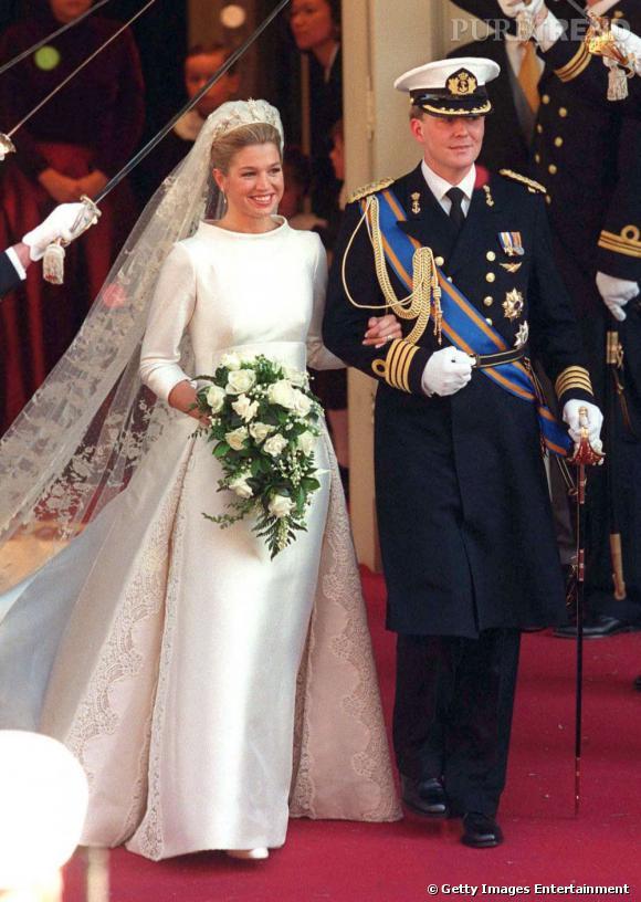 La reine Maxima des Pays Bas lors de son mariage avec le roi Willem-Alexander alors Prince.