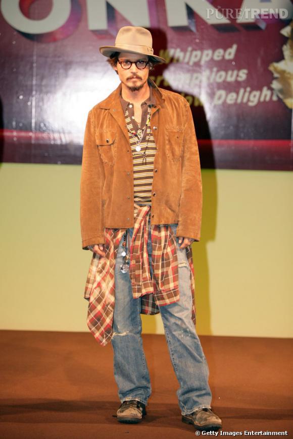 Johnny Depp et un style parfois imcompris et excentrique, comme en 2005.
