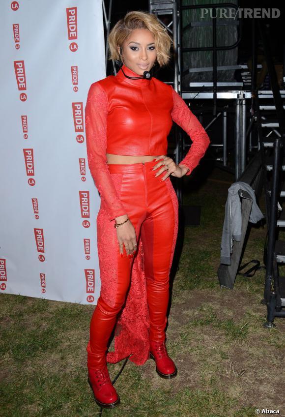 Ciara Un Rouge DentelleQui Cuir Décoré De Enfile Forme En Pantalon IED9H2