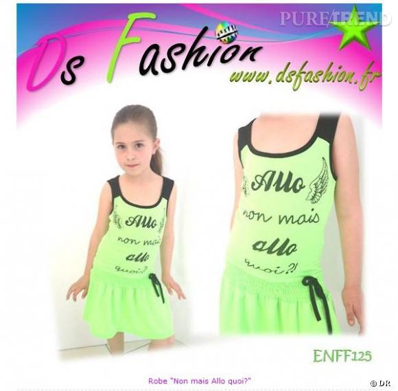 """La robe à la si célèbre phrase de Nabilla """"Allô non mais allô quoi ?""""vendue sur le site dsfashion.fr"""