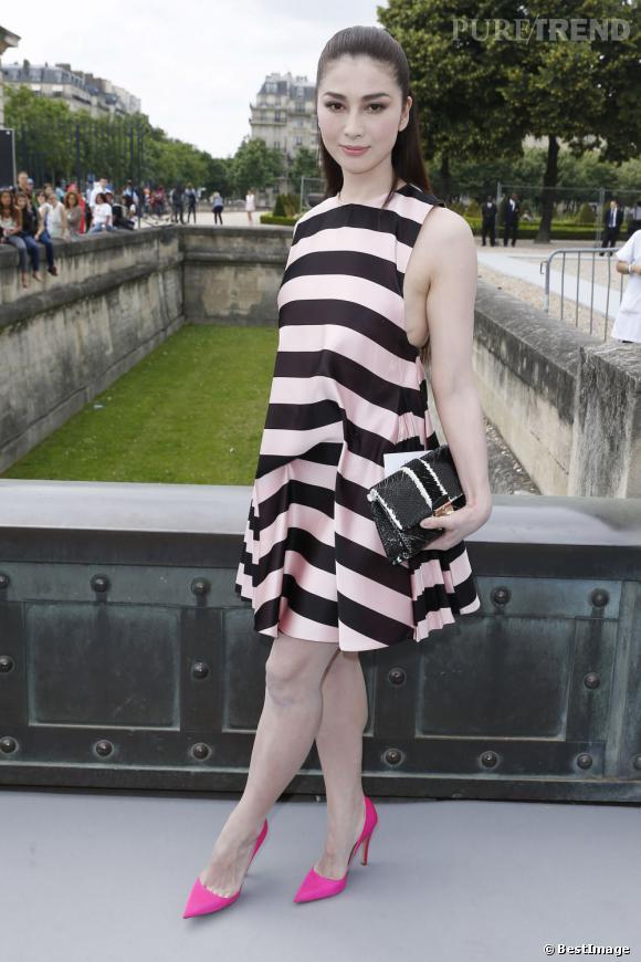 L'artiste japonaise Fuyuko Matsui au défilé Christian Dior à Paris.