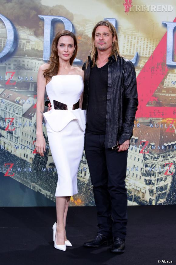 Le top promo World War Z  : allure cool et sexy pour monsieur, apparition sculpturale d'Angelina Jolie en Ralph & Russo, le duo en impose.