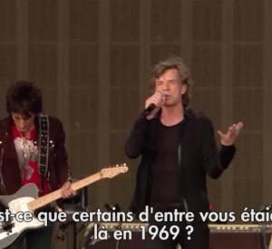 Mick Jagger et les Rolling Stones sur scène à Hyde Park.