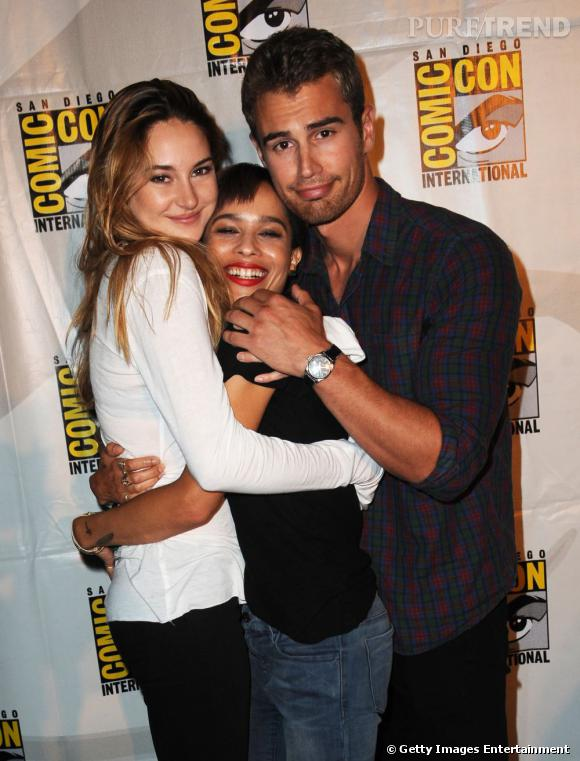 """Shailene Woodley, Zoe Kravitz et Theo James pour """"Divergent"""" au Comic-Con 2013 à San Diego."""