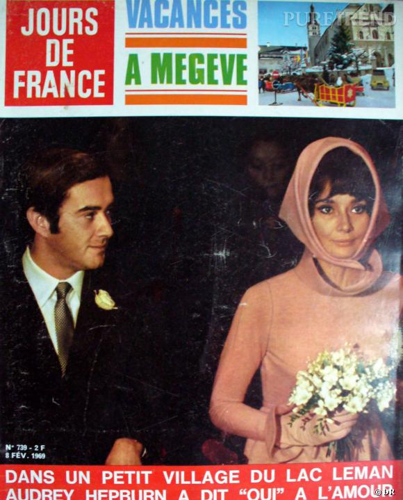 jours de france dat de f vrier 1969 avec en une les photos du mariage d 39 audrey hepburn et. Black Bedroom Furniture Sets. Home Design Ideas