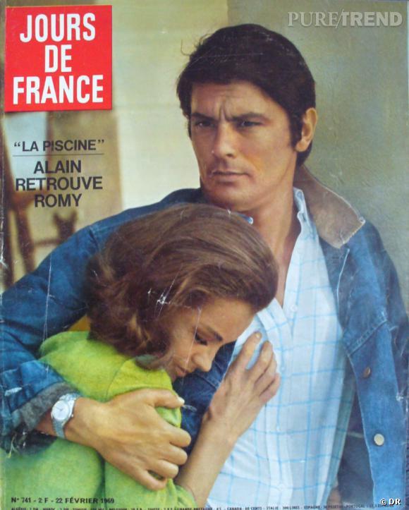 Jours de France  daté de février 1969 avec en Une Alain Delon et Romy Schneider.