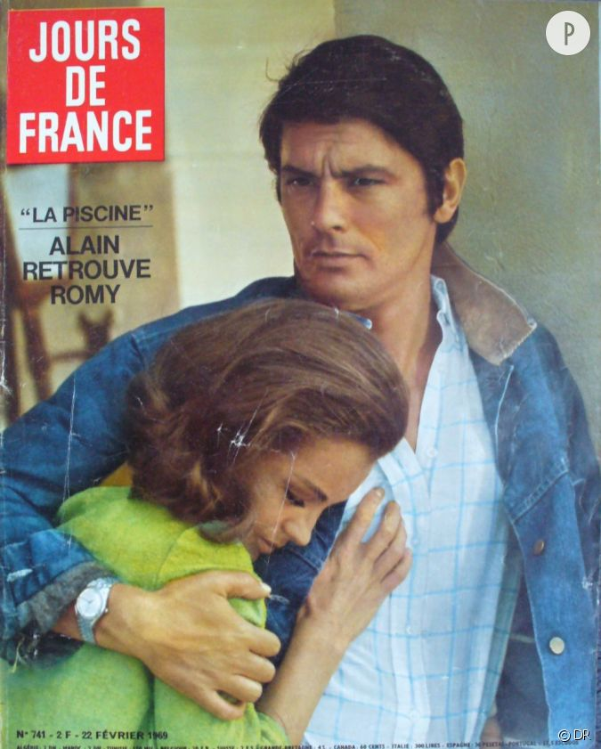 jours de france dat de f vrier 1969 avec en une alain delon et romy schneider. Black Bedroom Furniture Sets. Home Design Ideas