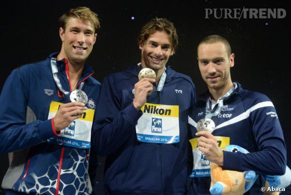 Le médaillé d'or Camille Lacourt et Jeremy Stravius aux mondiaux de natation à Barcelone.
