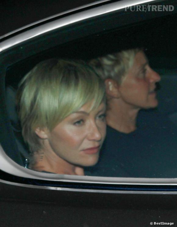 Portia De Rossi et Ellen Degeneres à l'anniversaire de Justin Theroux le 10 août dernier.