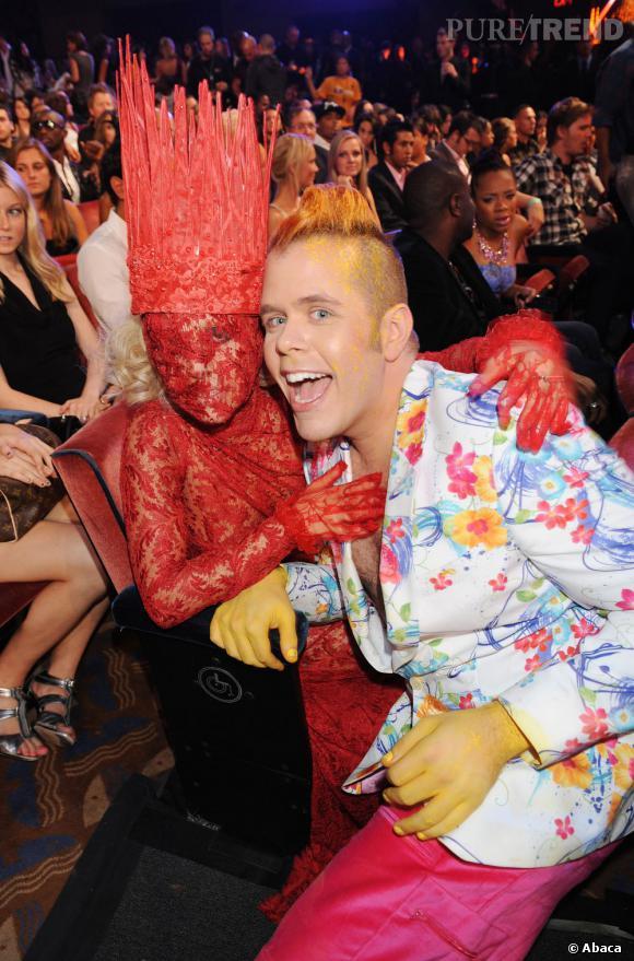Lady Gaga et Perez Hilton aux MTV Video Music Awards 2009.
