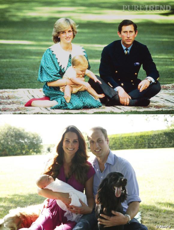 Kate et William en bas présentent George. En haut, Diana et Charles, également dans un parc présentent William.
